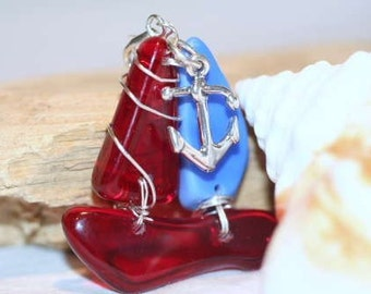 Antique Sandwich Glass Sailboat and Anchor Pendant, Cell Phone Clip-on, Pin