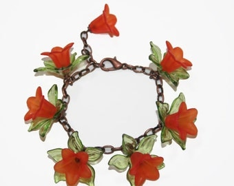 Flower Charm Bracelet  Orange Trumpet Flowers and Green Leaves on Copper Chain Link