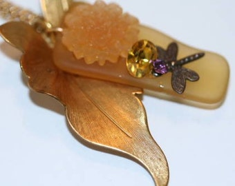 Dragonfly and Leaf Necklace, Butterscotch Glass, Sea Glass, Sandwich Glass, Tumbled Glass, Gardener's Gift