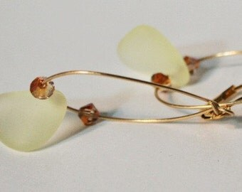 Earrings Gold Hoop Dangle Pastel Yellow Glass, Historical Glass Earrings, Cape Cod Glass Earrings