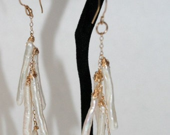 White Pearl Stick Earrings Dangly with 14kt Gold Fill Wrapped