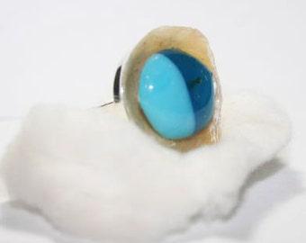 Ocean Beach Sandwich Glass Ring
