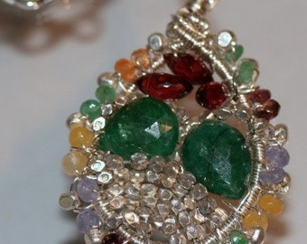 Fall Gemstone Necklace with Sterling Silver Green Cats Eye Design