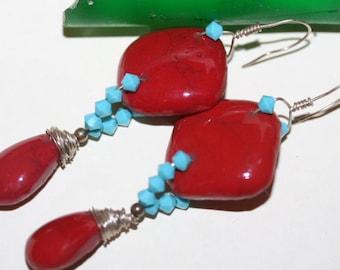 Boho Red and Turquoise Earrings, Antique Glass Earrings, Sandwich Massachusetts, Sandwich Glass, Tumbled Glass, Rare Glass Earrings