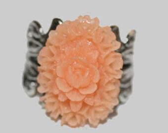 Peach Roses Shabby Chic Ring