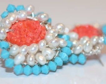 1950s Vintage Rendition Button Earrings with Contemporary Design in Turquoise, Pearly White Pearls and Coral
