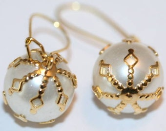 Earrings,  White and Golden Gothic Snowballs