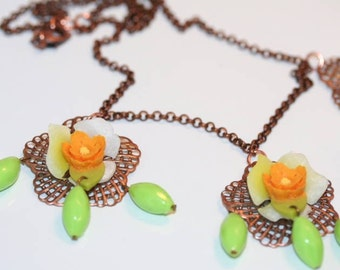 Necklace, Chartreuse Green and Bright Orange Flower Necklace Bright Spring and Summer Colors
