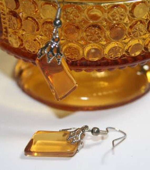 Amber Sandwich Glass Earrings