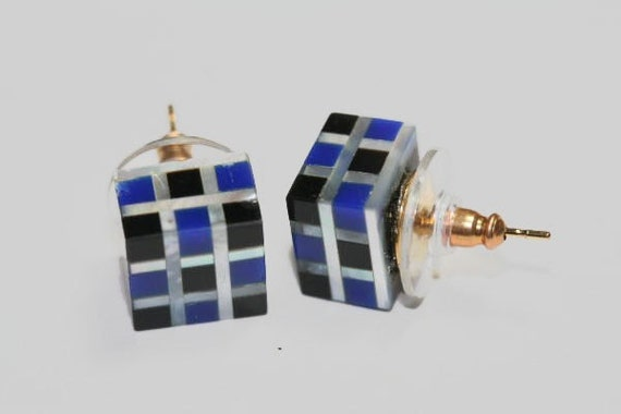 Stud Earrings Cubes of 1950's Mother of Pearl, Black Onyx and Lapis