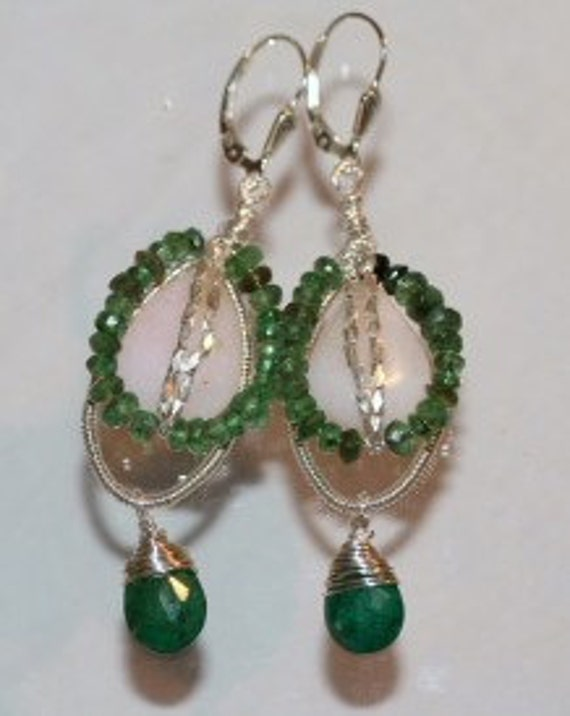 Sexy Green Emerald, Green Zoisite and Pink Peruvian Opal Earrings with Sterling Silver Wrap