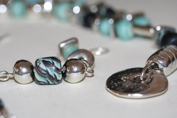 Southwest Lampwork Turquoise and Silver Necklace