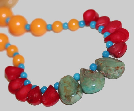 Turquoise, Red Coral, Sponge Coral Necklace