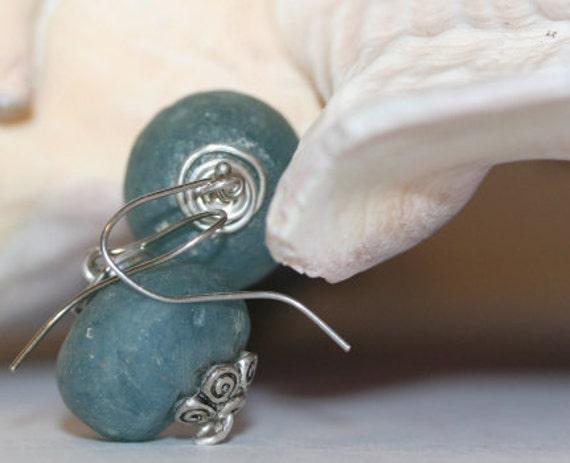Blue Beach Glass Ball Earrings, Sea Glass