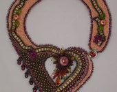 Heart of the Valley Grapes Bead Embroidered Collar Necklace FREE SHIPPING