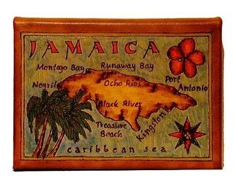 JAMAICA - Leather Travel Journal / Sketchbook - Handmade