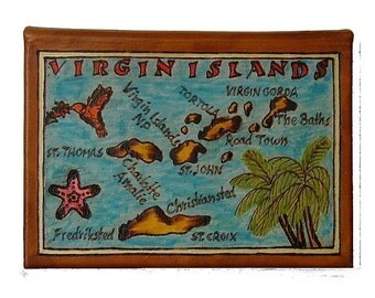 VIRGIN IS. - Leather Travel Journal / Sketchbook - Handmade
