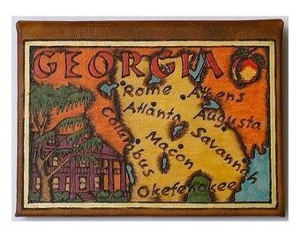 GEORGIA - Leather Travel Journal / Sketchbook - Handmade