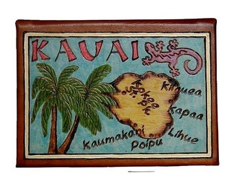 KAUAI - Leather Travel Scrapbook / Journal - Handmade