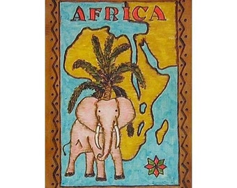 AFRICA - Leather Travel Scrapbook / Journal - Handmade