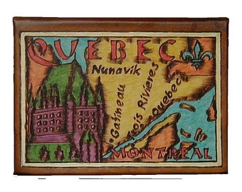 QUEBEC / MONTREAL - Leather Travel Scrapbook / Journal - Handmade