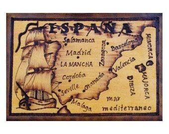 SPAIN - Leather Travel Scrapbook / Journal - Handcrafted