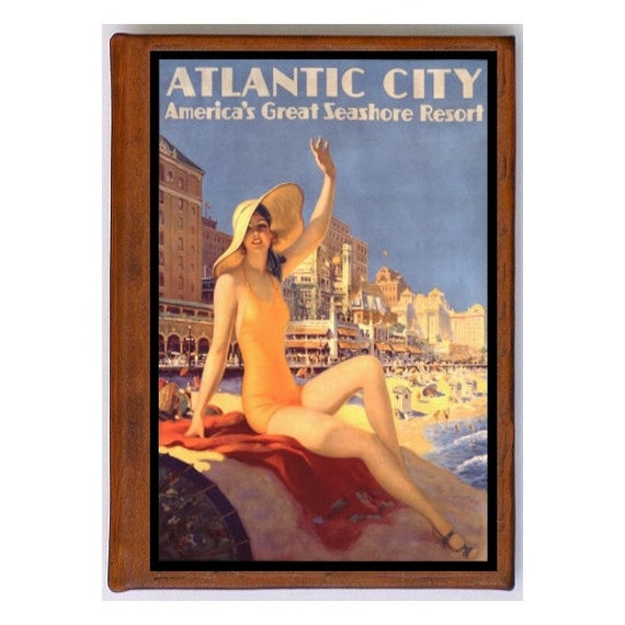 ATLANTIC CITY 1- Handmade Leather Journal / Sketchbook - Travel Art