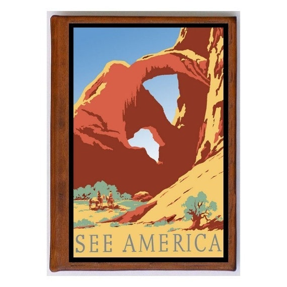 UNITED STATES 15- Handmade Leather Journal / Sketchbook - Travel Art