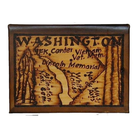 WASHINGTON DC - Leather Travel Journal / Sketchbook - Handcrafted