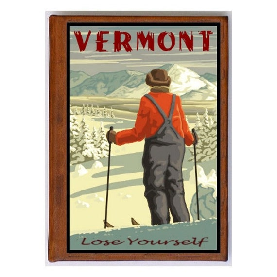 VERMONT 1- Handmade Leather Photo Album - Travel Art