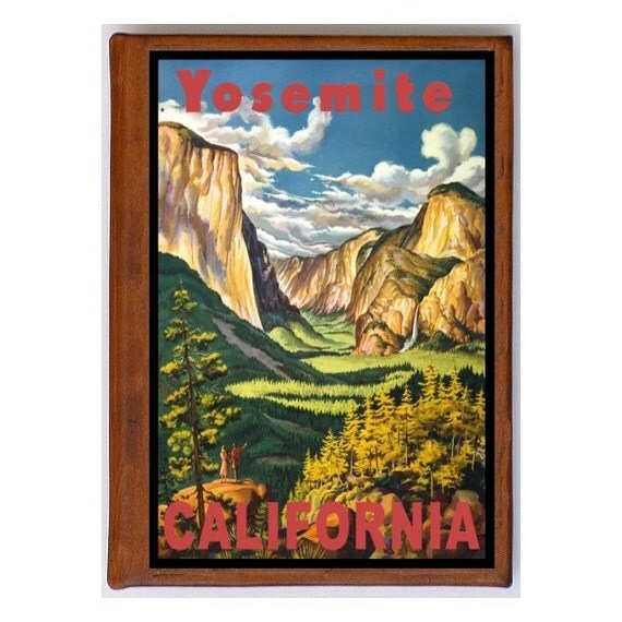 YOSEMITE California 13- Handmade Leather Photo Album - Travel Art
