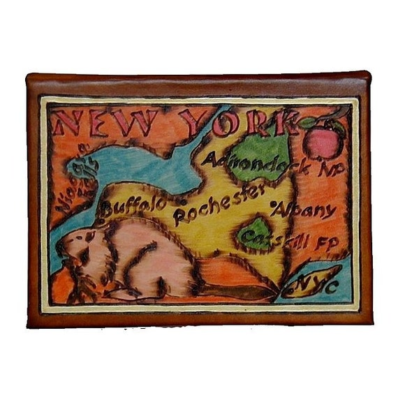 NEW YORK STATE - Leather Travel Scrapbook / Journal - Handmade