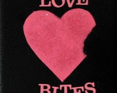 Hot Pink and Black LOVE BITES Decorative Tile-- Wall Hanging-- Desk Decoration-- Singles Awareness Day