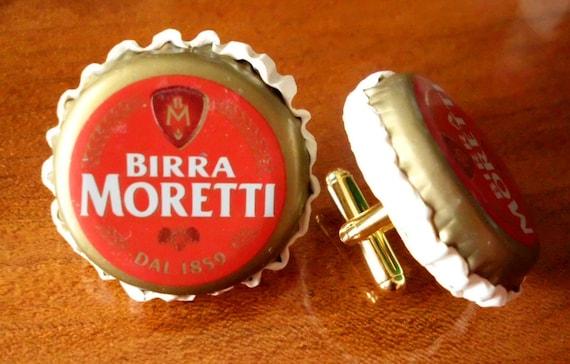 Italian Beer Bottle Cap CUFFLINKS Birra Moretti