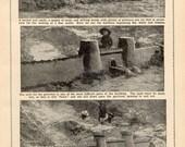 1896 How to Build A Sand Castle on the Beach Photogravure Print