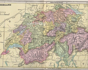 1897 Original  Victorian Antique  Color Map of Switzerland Hand Colored