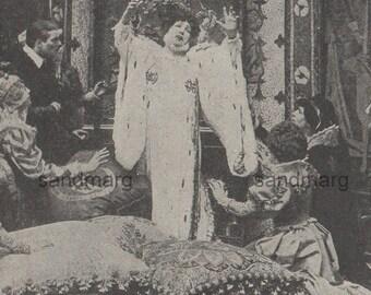 Vintage 1928 Sarah Bernhardt as Queen Elizabeth Photogravure Print