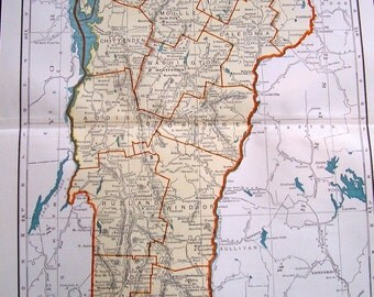 1947 Rand McNally Popular Map of Vermont