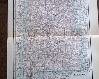 1897 Original Victorian Antique Map of Alabama