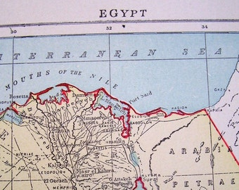 1897 Victorian Antique Color Map of Egypt
