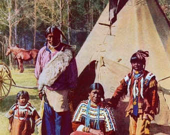 1918 Iroquois Family Portrait Photochrome Print