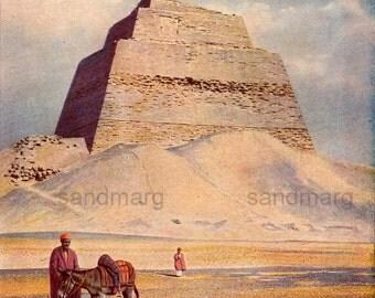 1918  Pyramid of King Sneferu at Meidum Egypt Sir Flinders Petrie to Frame