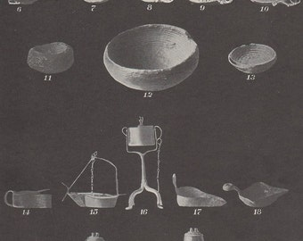 1900 Edwardian  Chart of Early English and American Colonial Lamps and Early American Glass Lamps Prehistoric Arctic to Frame
