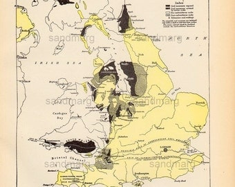 1897 Original Victorian Antique Map of the Coal Fields  of Great Britain