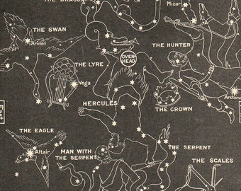 1902  Map of the Stars in Summer Libra Scorpio Sagittarius Cassiopeia The Swan