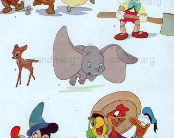 Original Vintage Walt Disney Productions Characters From Animated Cartoons Dumbo Bambi Snow White Pinnochio Donald Duck Print to Frame