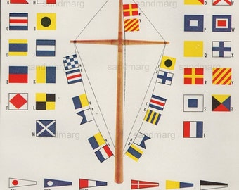 Vintage Nautical International Code Flags and Pennants Signal Communication Chart