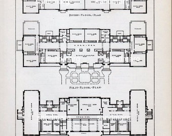 Vintage 1935 Architectural Print Woerner School Building St Louis Missouri