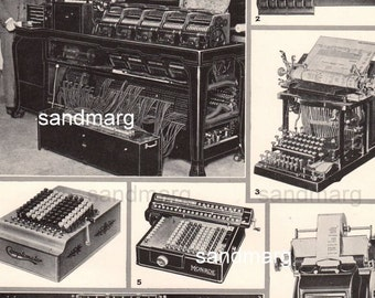 Vintage 1930s History of Calculating Machines Tabulators Adding Machines Photo Montage