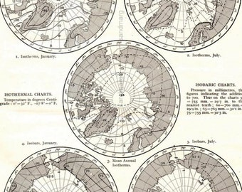 Vintage 1911 Meteorology Map Isothermal Isobaric Charts of Polar Regions